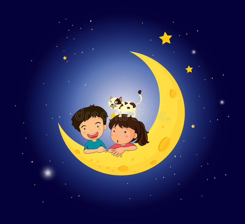 Children On The Moon With A Cat Stock Photography