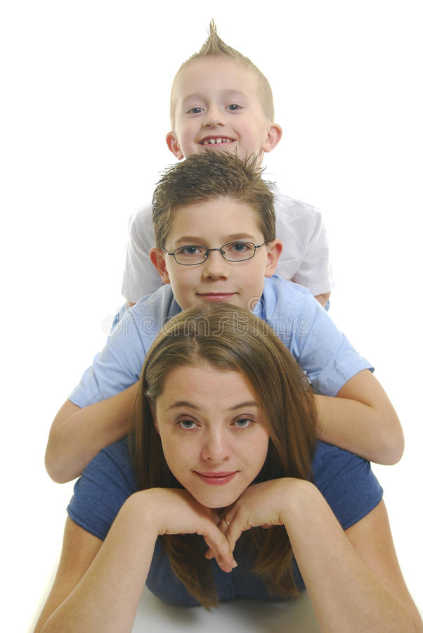Download Children on mothers back stock image. Image of boys, back - 13979543