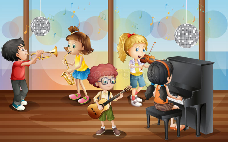 Children and music royalty free illustration