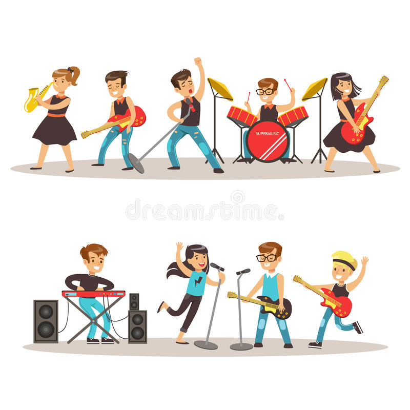 Children Musicians Performing On Stage On Talent Show Colorful Vector Illustration With Talented Schoolkids Concert vector illustration