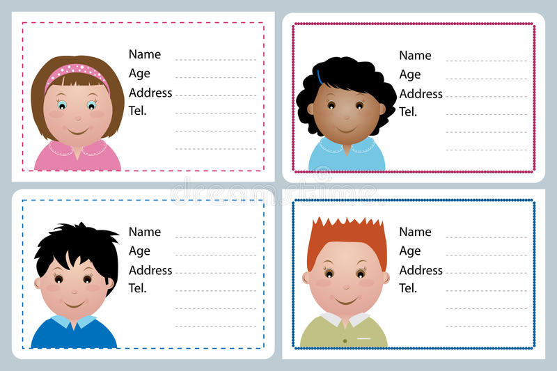 Children name card. Set of four children name card isolated on grey, useful as label or sticker.EPS file available vector illustration