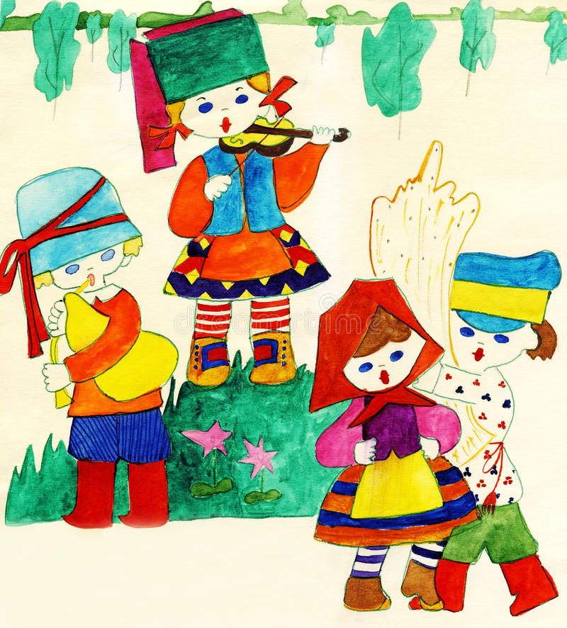 Download Children In National Slavic Costumes Stock Illustration - Illustration of green, image: 12936549