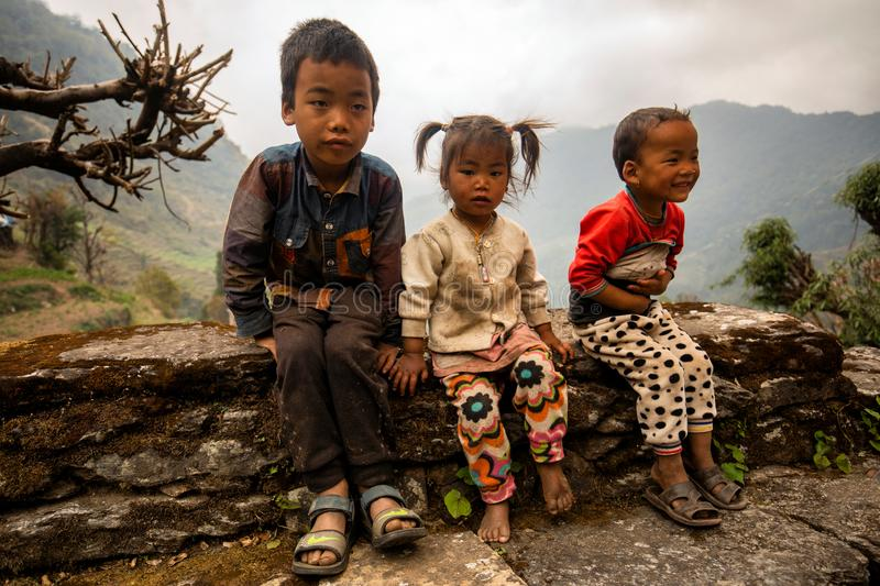 Children in Nepal stock photography
