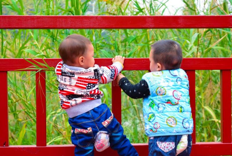 Children niebezpieczna wspinaczka obraz royalty free