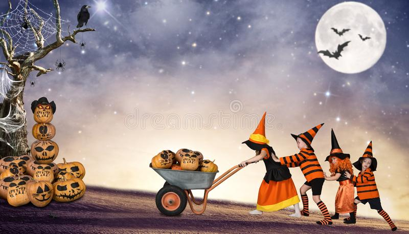 Halloween.Children of the night are taken to the truck taverns of the fairy forest. stock image
