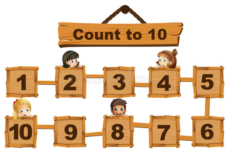 Children and numbers one to ten on wooden boards stock illustration