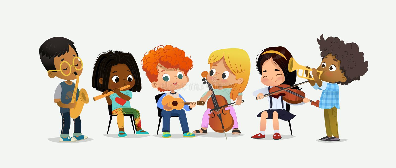 Children Orchestra Kids Play Various Music Instrument. Children Orchestra Play Various Music. Girl with Violin. Classroom Teenage Education. Funny Entertainment vector illustration
