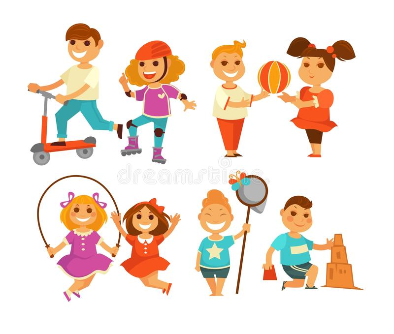 Children outdoor activity boy and girl childhood isolated characters. Childhood children outdoor activity boy and girl isolated characters vector kick scooter stock illustration