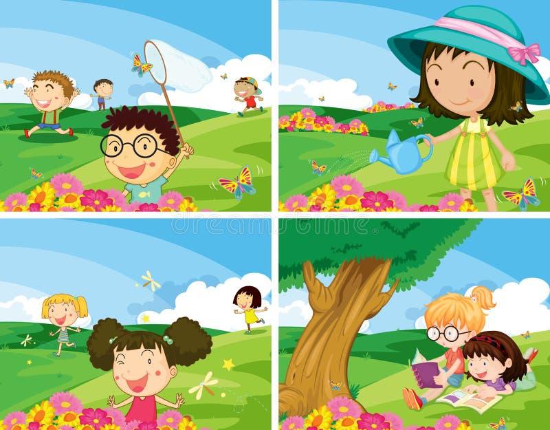 Children outdoor stock illustration