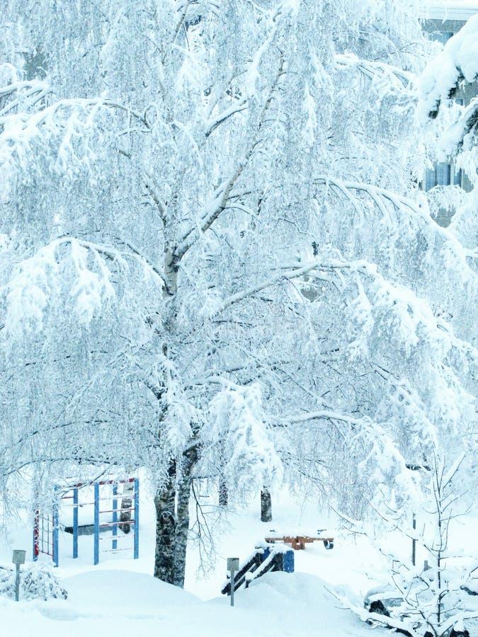 Children Outdoor Playground in Winter stock photography