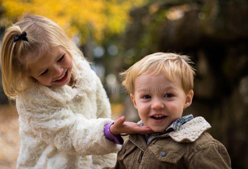 Children in outdoor portrait stock images