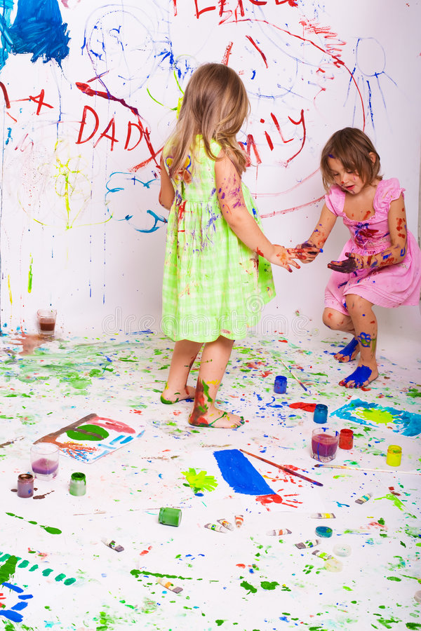Children paint stock images