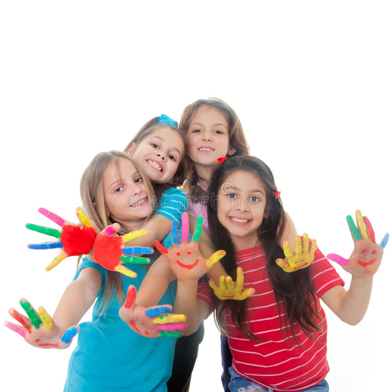Children paint fun. Group of happy children having fun with paint