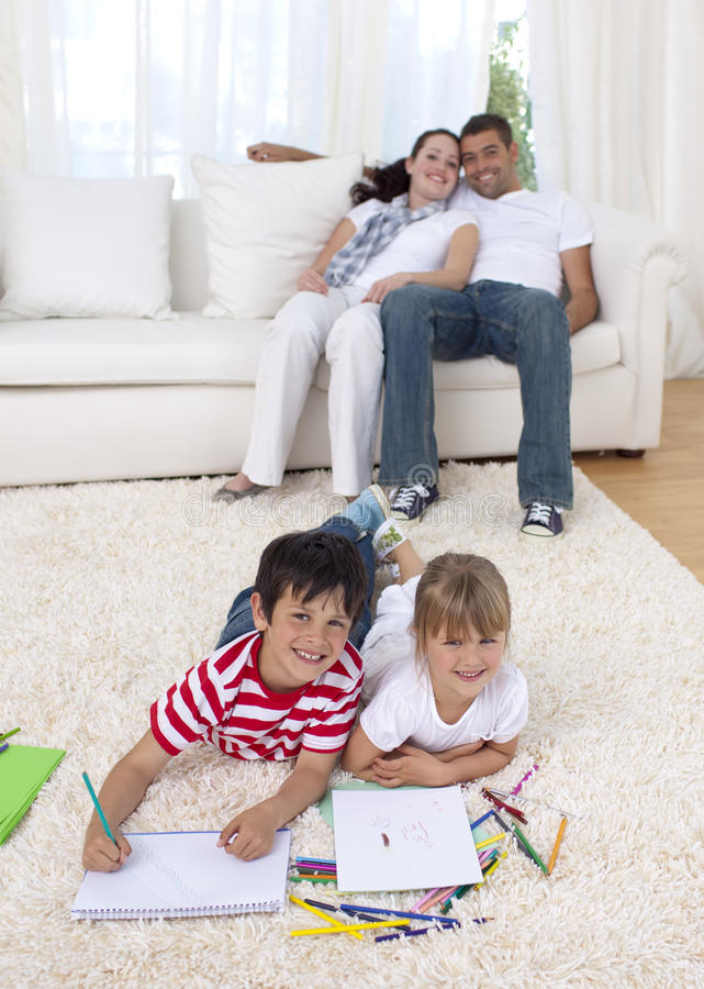 Download Children Painting On Floor In Living-room Royalty Free Stock Photography - Image: 11462887