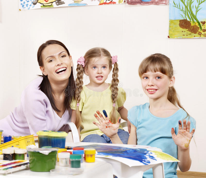 Download Children Painting In Preschool. Stock Photo - Image: 18599026