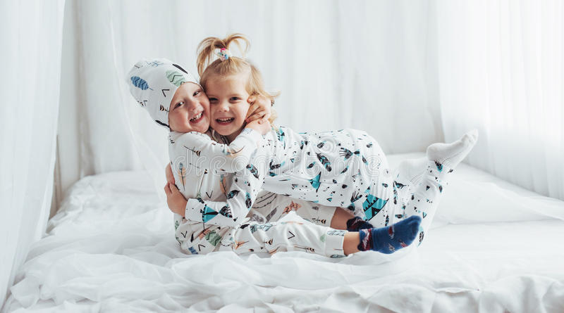 Children in pajamas royalty free stock photography