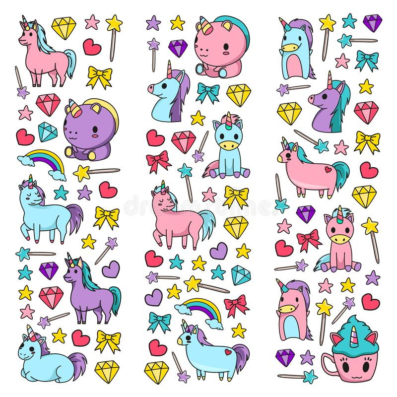 Children pattern with fairy tale unicors for kids clothes, posters, banners, shirts. Vector image with cartoon character royalty free illustration
