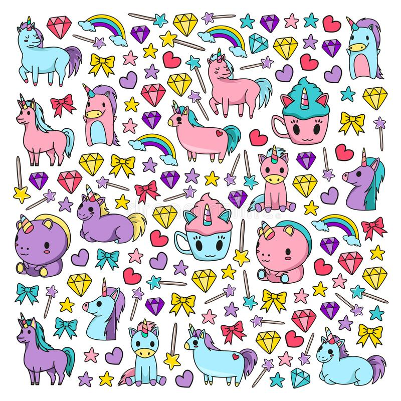 Children pattern with fairy tale unicors for kids clothes, posters, banners, shirts. Vector image with cartoon character stock illustration