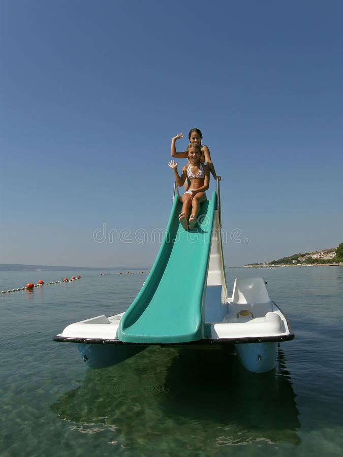 Download Children On Pedal Boat At Sea 1 Stock Image - Image: 25559639