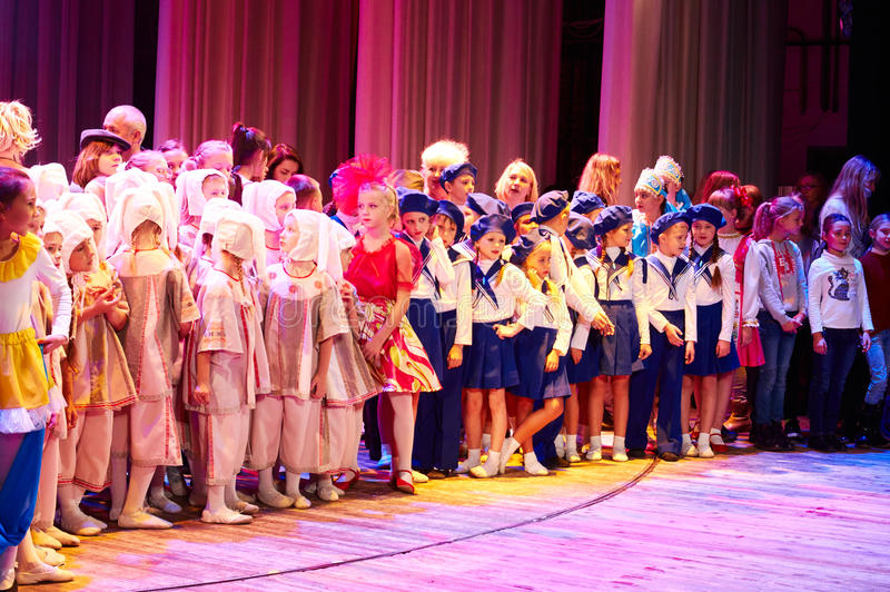 Children perform in The 'New Style' music and art festival. MINSK-BELARUS, OCTOBER 15: unidentified children perform in The 'New Style' music and art festival royalty free stock image