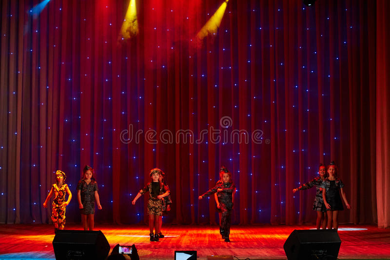 Children perform in The 'New Style' music and art festival. MINSK-BELARUS, OCTOBER 15: unidentified children perform in The 'New Style' music and art festival stock images