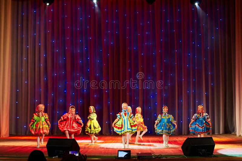 Children perform in The 'New Style' music and art festival. MINSK-BELARUS, OCTOBER 15: unidentified children perform in The 'New Style' music and art festival royalty free stock photo