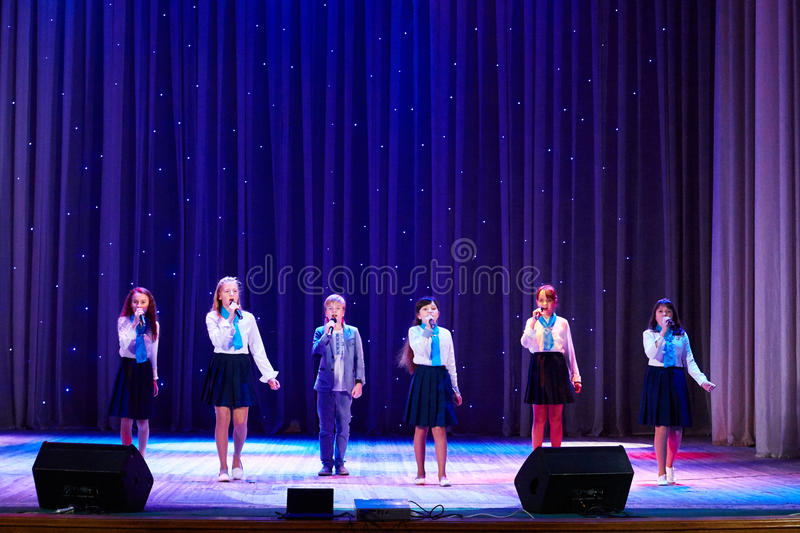 Children perform in The 'New Style' music and art festival. MINSK-BELARUS, OCTOBER 15: unidentified children perform in The 'New Style' music and art festival royalty free stock photography