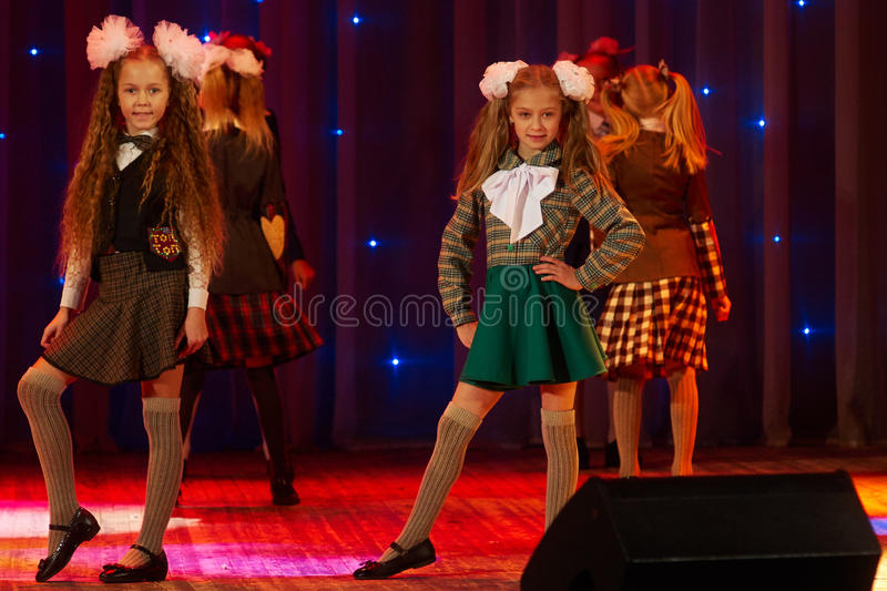 Children perform in The 'New Style' music and art festival. MINSK-BELARUS, OCTOBER 15: unidentified children perform in The 'New Style' music and art festival royalty free stock photos