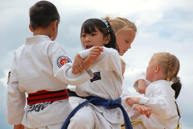 Children Performing Taekwondo. At Edmonton's Heritage days royalty free stock image