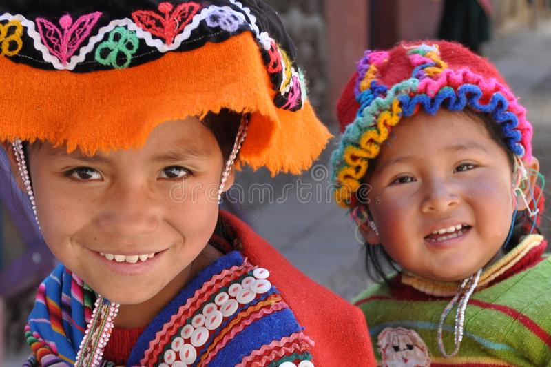 Children from Peru. August 2010, Pisaq (Peru) - Two children at the market