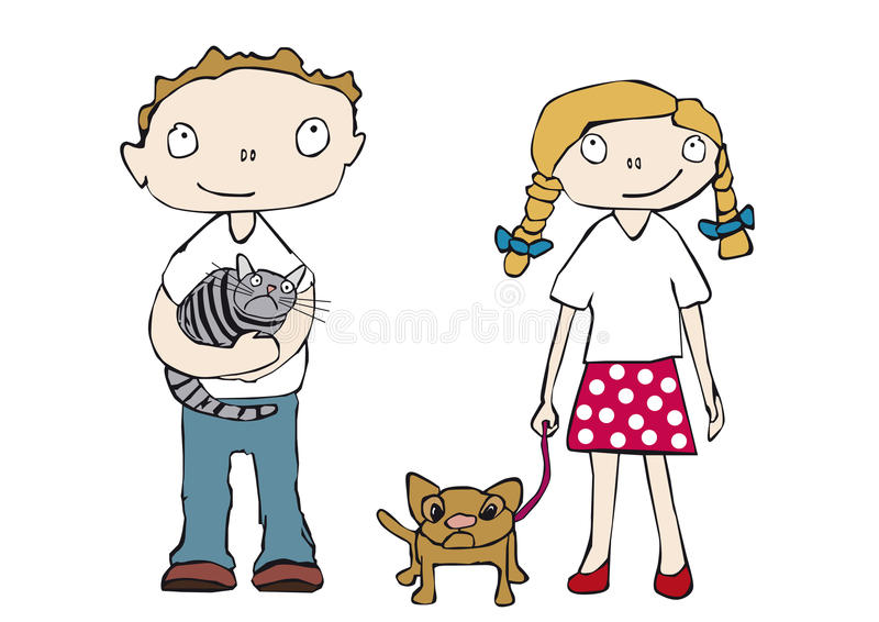 Children with pets stock photography