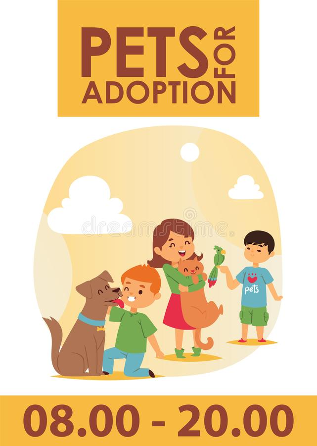 Children with pets adopt friendship poster illustration. Love child dog and cat adoption. Children with pets adopt friendship poster illustration. Friendly vector illustration