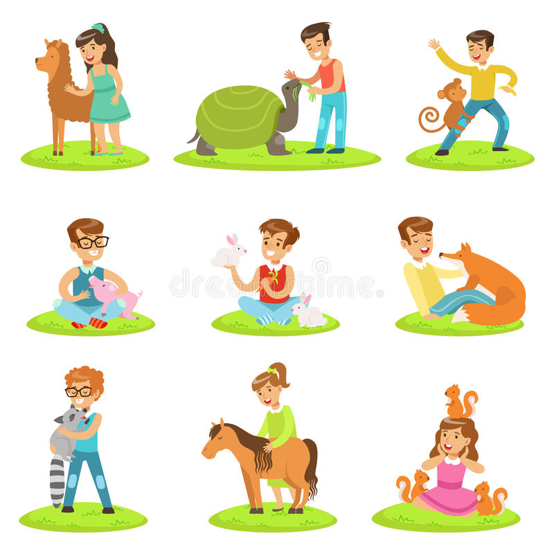 Children Petting The Small Animals In Petting Zoo Collection Of Cartoon Illustrations With Kids Having Fun vector illustration