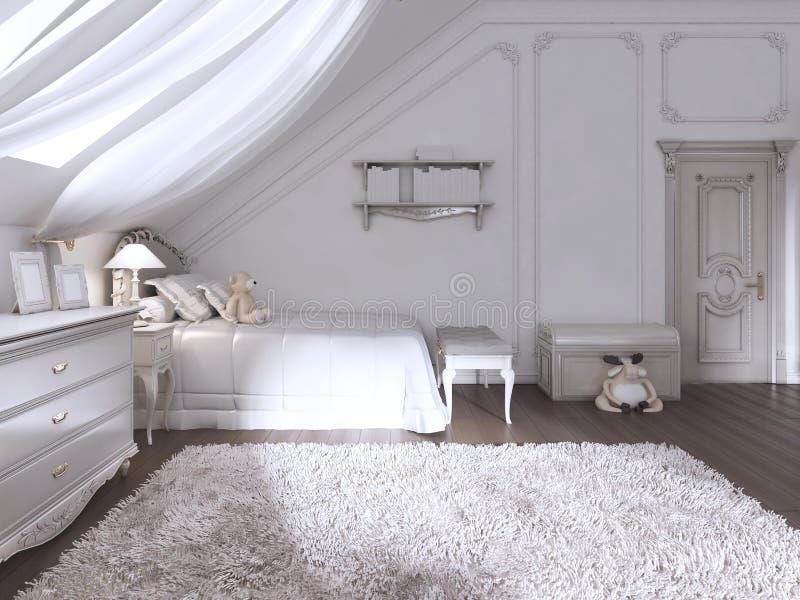 Children& x27 ; pièce de s dans le style classique avec le lit et le coffre des tiroirs illustration stock