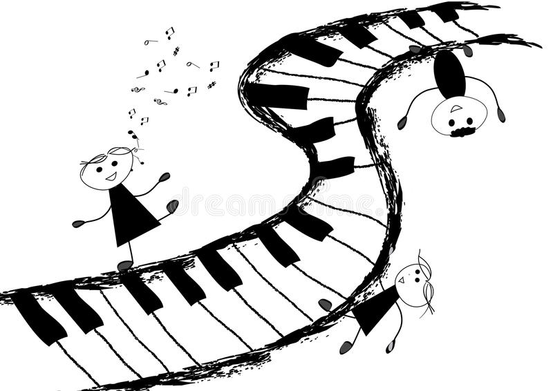 Children and piano keyboard royalty free illustration