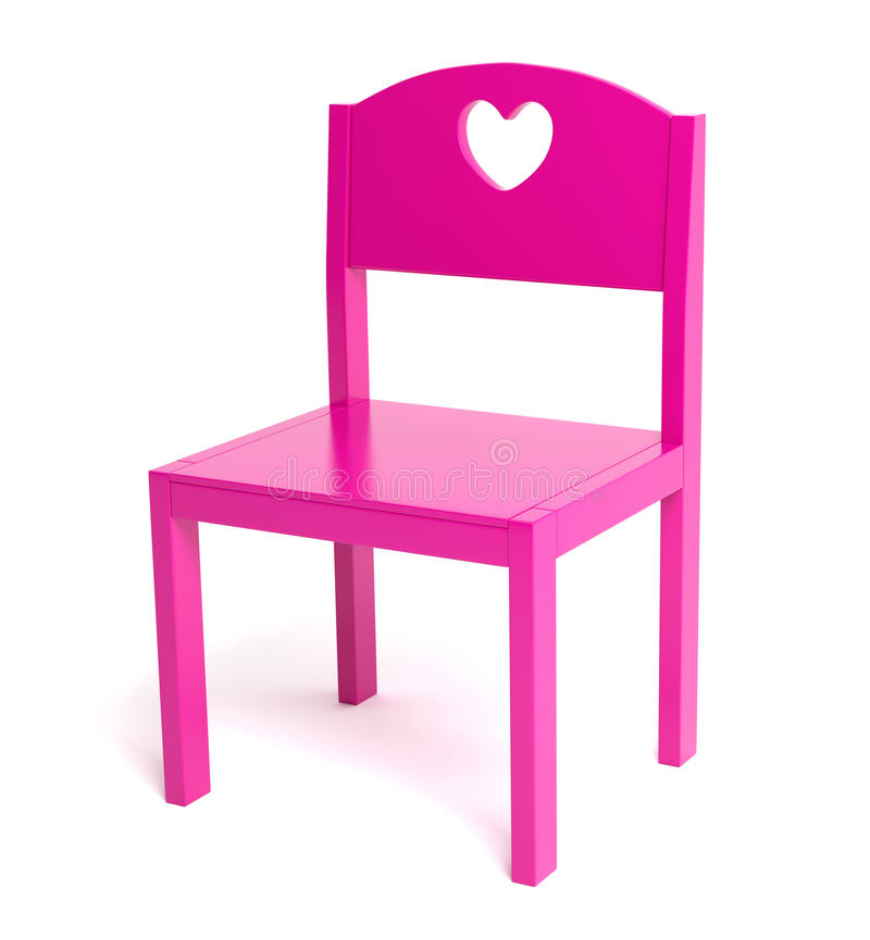 Children pink chair. 3D generated, clipping path included vector illustration