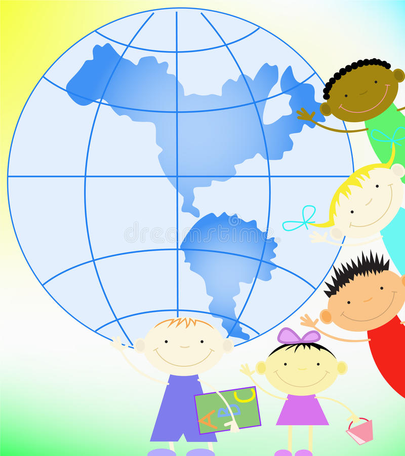 Children and the planet vector illustration