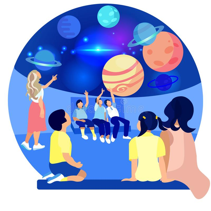 Children in Planetarium Study Planets. Vector. Children in Planetarium Study Planet. Space Exhibition. Compositions Exhibition Center. Visit Exhibition. Modern stock illustration