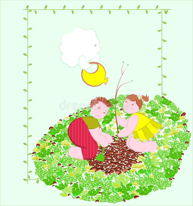 Download Children planting tree. stock vector. Illustration of agriculture - 23730520