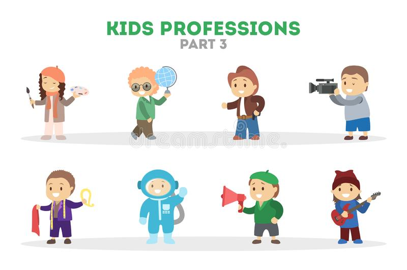 Children play as different worker set. Collection of kids stock illustration