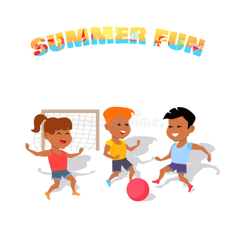 Children Play with a Ball. Summer Fun. Boys and girl playing with a ball in soccer summer. Happy sport kid and activity together play in soccer, running and stock illustration