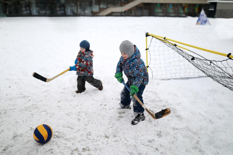 Children play bandy stock photos