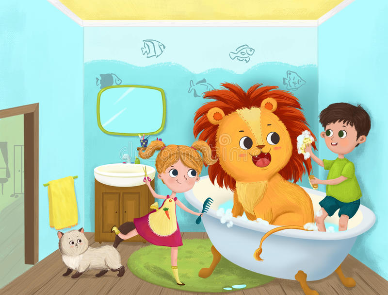 Children play in the bathroom royalty free stock photos