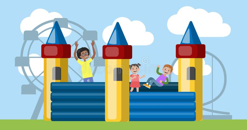Children play in the bouncy castle in amusement park. Children play in the bouncy castle. Happy kid having fun in the amusement park. Flat vector illustration stock illustration