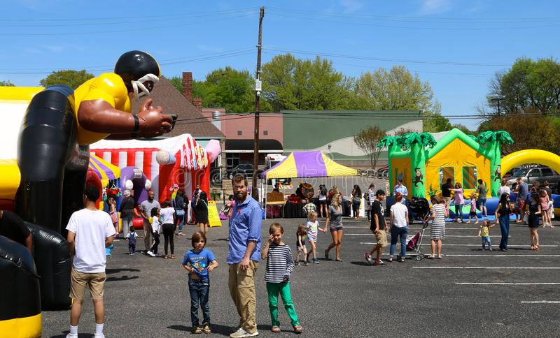 Children Play on Bouncy Houses At The Overton Square Annual Crawfish Festival in Memphis royalty free stock images