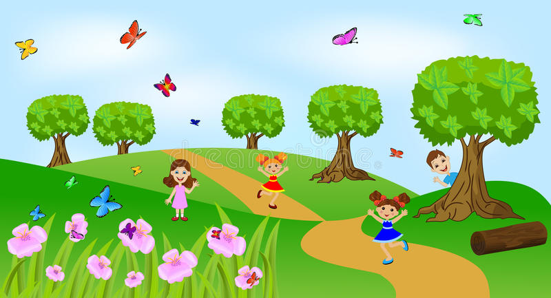 Children play the green lawn. Vector illustration royalty free illustration