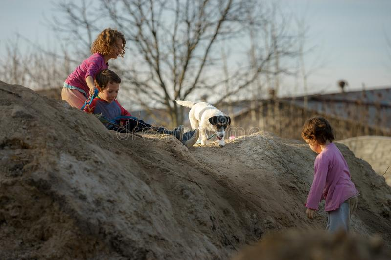 Children play on the hill of mud with a dog royalty free stock images