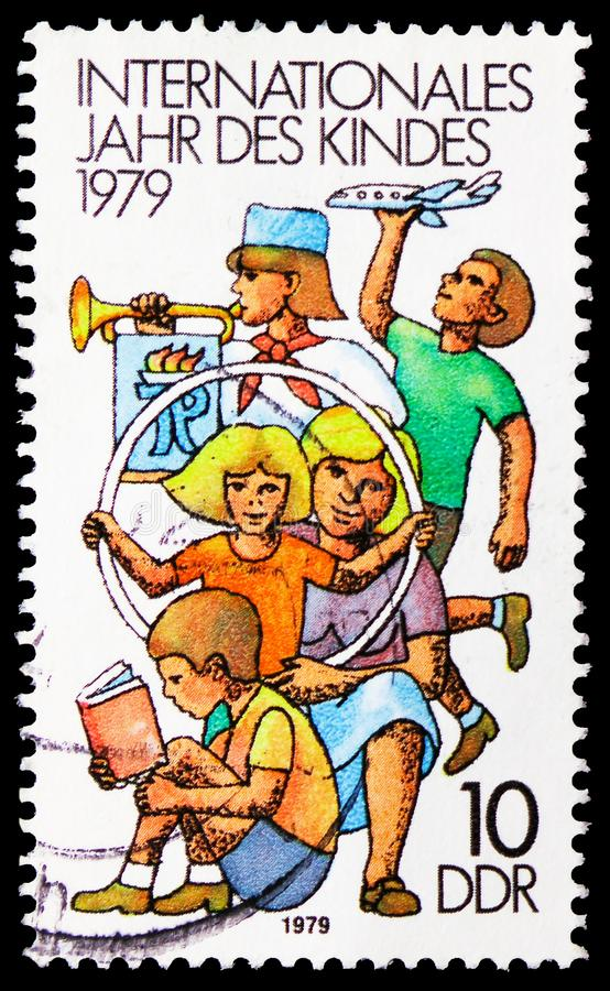 Children at Play, International Year of the Child serie, circa 1979. MOSCOW, RUSSIA - FEBRUARY 21, 2019: A stamp printed in Germany, Democratic  Republic shows stock image
