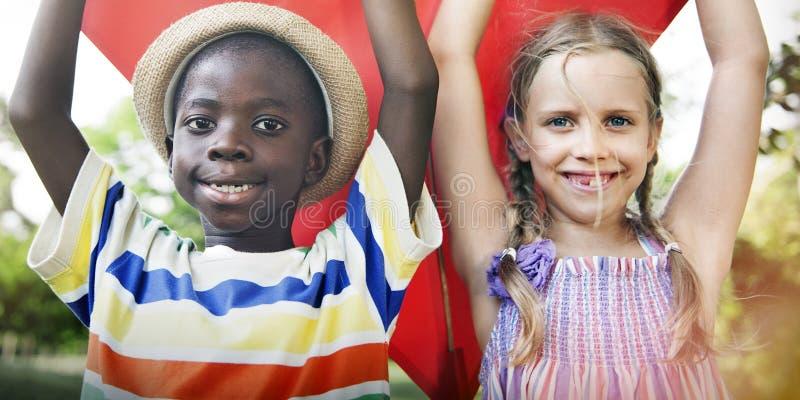 Children Play Kite Lifestyle Activity Concept stock image