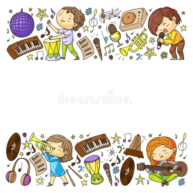Children play music. Musical education, theatre, school. Children play music. Musical education, theatre school stock illustration